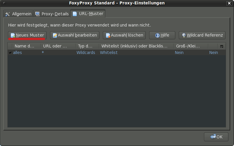 FoxyProxy Proxy-Einstellungen